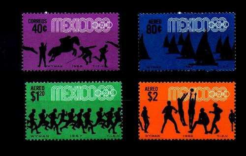 México 68 juegos olímpicos 4 estampillas olimpiadas