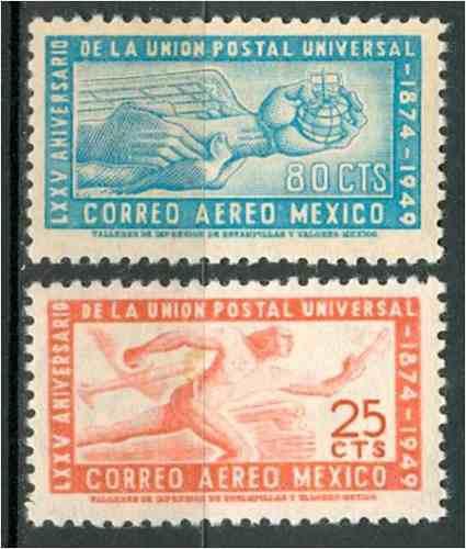 Sc c203 - c204 año 1950 lxxv aniversario de la union postal