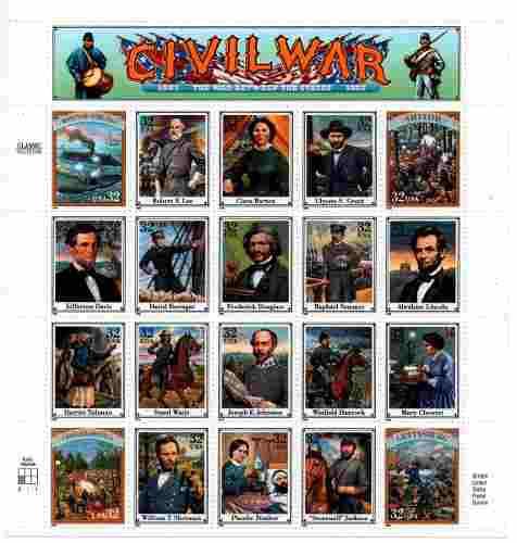 U s a american civil war hoja completa 20 stamps cv $35 usd