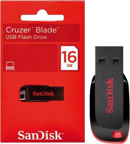 Memoria sandisk 16gb usb 2.0 blade z50 negro c/rojo win mac