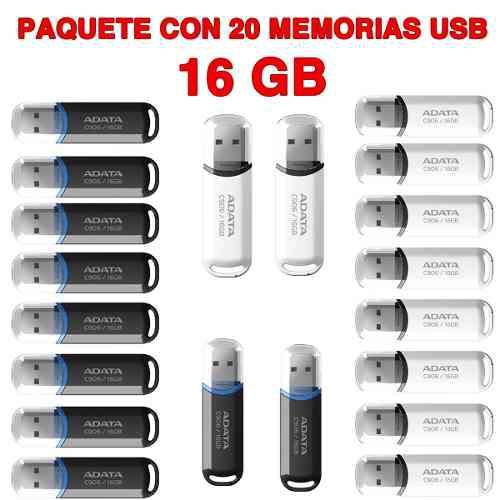 Paquete 20 memorias usb 16gb adata c906 usb 2.0 mayoreo
