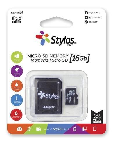 Stylos memoria micro sd 16gb clase 10 celular con adaptador