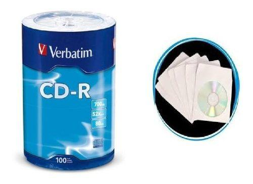 100 cd-r virgen marca verbatim + 100 sobres de papel