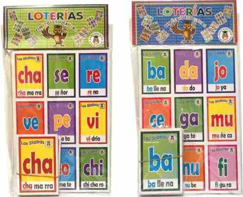 Paquete con 2 piezas de lotería educativa sílabas español