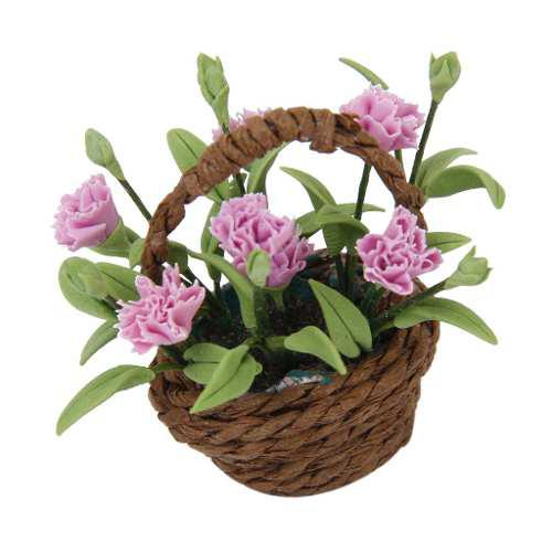 1/12 casa de muñecas en minitura cesta flores clavel decora