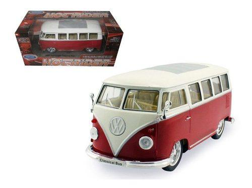 1962 volkswagen classical bus low rider red by welly 1:24 -