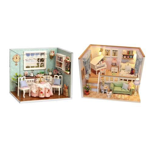 2 piezas set de casa de muñecas en miniatura estilo diy jap