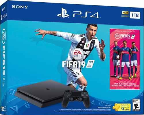 Consola ps4 slim 1 tb + juego gratis fifa 2019 bundle