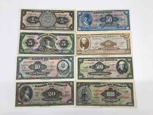 Colección de 8 billetes antiguos mexicanos,. grado 2