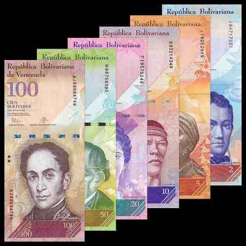 Colección venezuela chavista 6 billetes 2 a 100 nuevos
