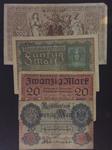 Coleccion de 4 billetes alemania antiguos 1