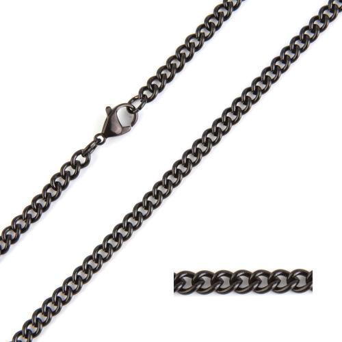 Cadena acero inoxidable negro mini argollas 60 cm x 4 mm