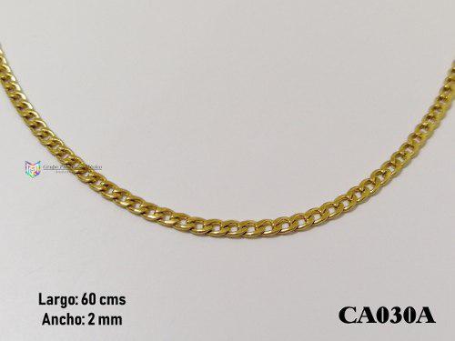 Cadena barbada 60cms 2mm acero inoxidable dorado