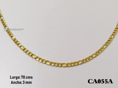 Cadena tejido 3x1 70cms 3mm acero inoxidable dorado