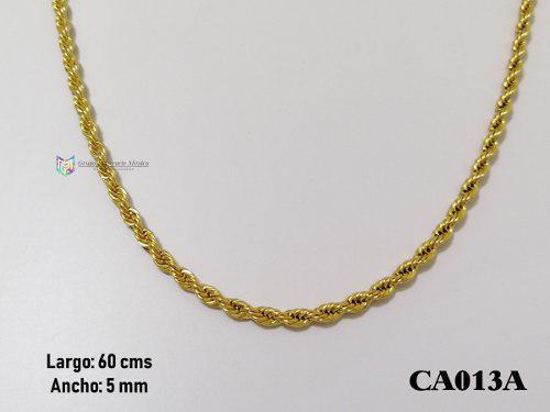 Cadena torzal 60cms 5mm acero inoxidable dorado
