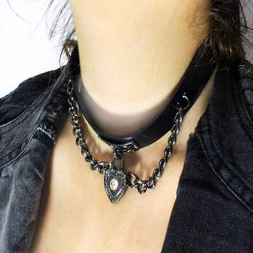 Collar cuero gothico envio gratis corazón gargantilla dark
