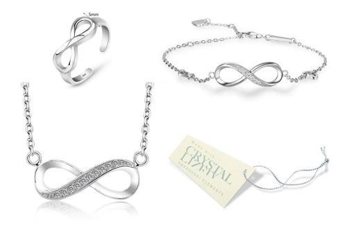 Set infinito !!! collar pulsera anillo plata 925 amor regalo