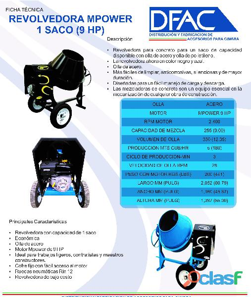 Revolvedora power mix 2 sacos de acero motor 13 hp