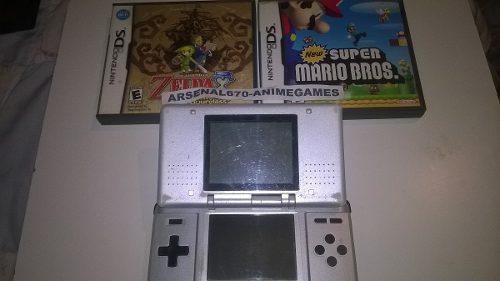 Nintendo ds fat consola plata + zelda + 1 juego de mario nds