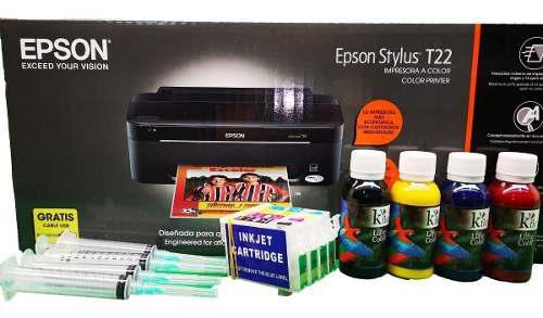 Impresora epson t-22 + kit cartuchos recargables y tinta