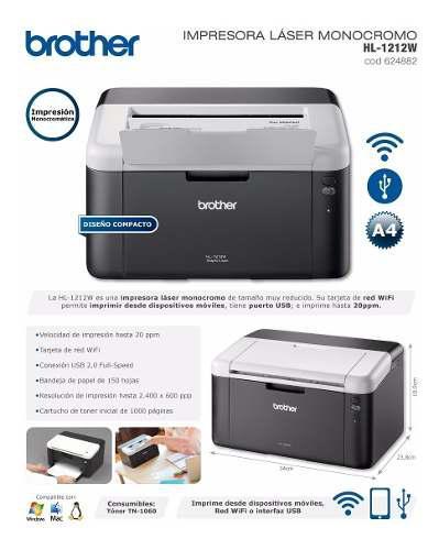 Impresora laser monocromatica brother hl1212w wifi, usb
