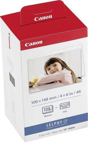 Tinta y papel canon para selphy kp108in 108 fotos 10cmx15cm