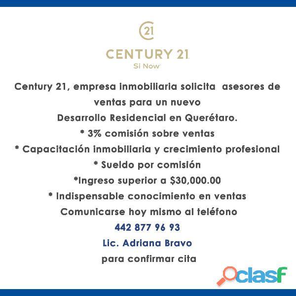 Century 21, empresa inmobiliaria solicita asesores de ventas