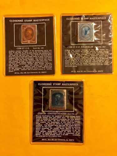 3 timbres postales estados unidos piezas maestras de bronce