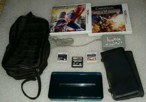 Nintendo 3ds aqua cuidado, con 3 juegos, h4ck y accesorios.