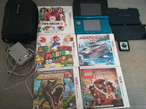 Nintendo 3ds azul - 6 juegos con caja - estuche y protector