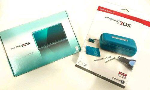 Nintendo 3ds con juegos y accesorios azul en caja todo