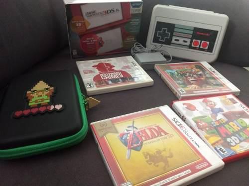 Nintendo 3ds xl rojo con accesorios y juegos