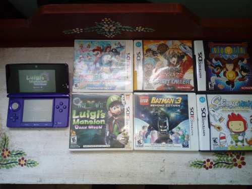 Nintendo 3ds+7 juegos luigi's mansion, mario party, yu-gi-oh