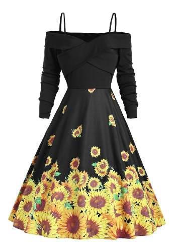 Cruz girasol impresión la línea de vestido vendimia