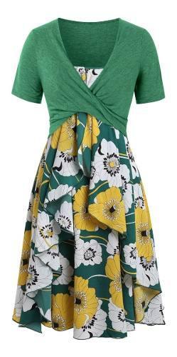 L-5xl mujer floral impreso vestido casual con capas