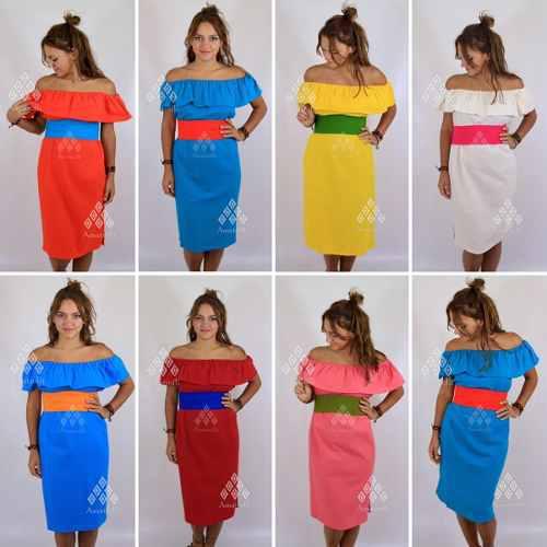 Lote De 6 Vestidos Tipo Campesina De Manta Unitalla Y Xl En