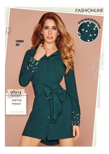 Vestido Cklass Verde Teal 969 14 Otoño Invierno 2018 Nuevo