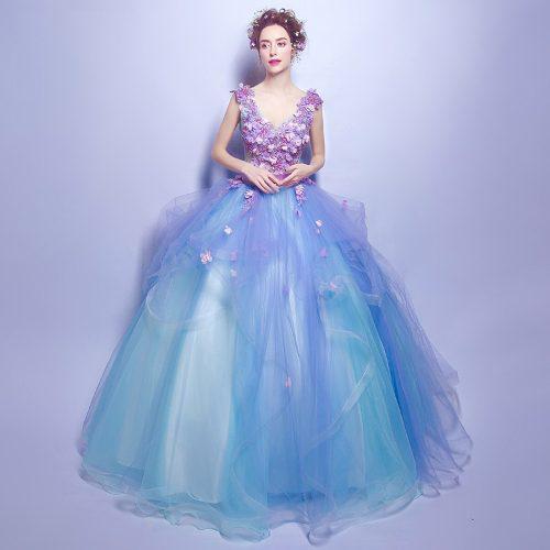 Vestido Xv Años Azul Vintage Flores Envió Gratis P 2583 En
