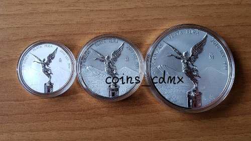 3 monedas plata libertad mate brillo 2018 1 2 5 oz banxico