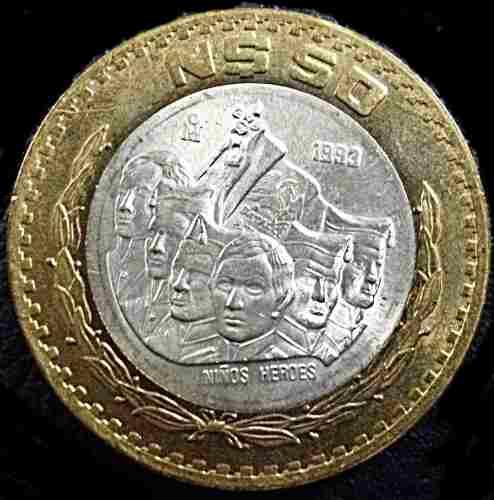 50 nuevos pesos moneda bimetalica centro plata niños