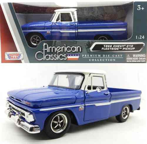 Camioneta chevrolet c-10 fleetside 1966 azul motor max 1/24