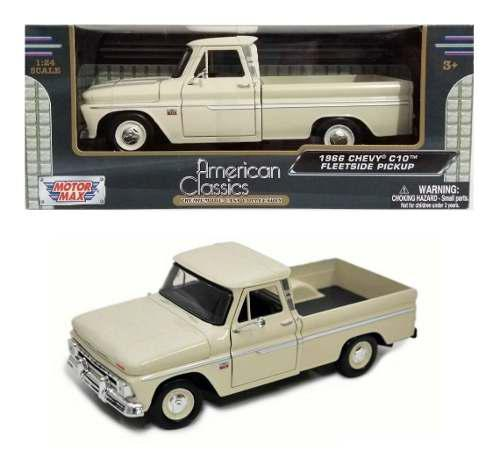 Camioneta chevrolet c-10 fleetside 1966 blanc motor max 1/24