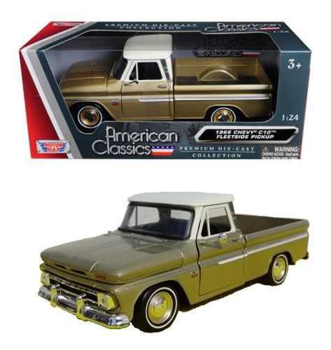 Camioneta chevrolet c-10 fleetside 1966 oro motor max 1/24