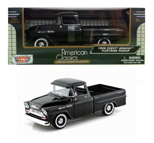 Camioneta chevy apache fleetside 1958 negra motor max 1/24
