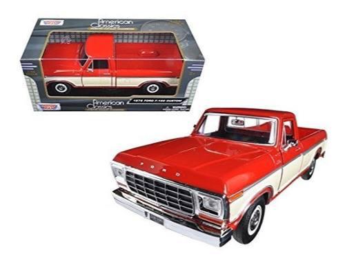 Camioneta ford f-150 1979 custom roja/crema motor max 1/24