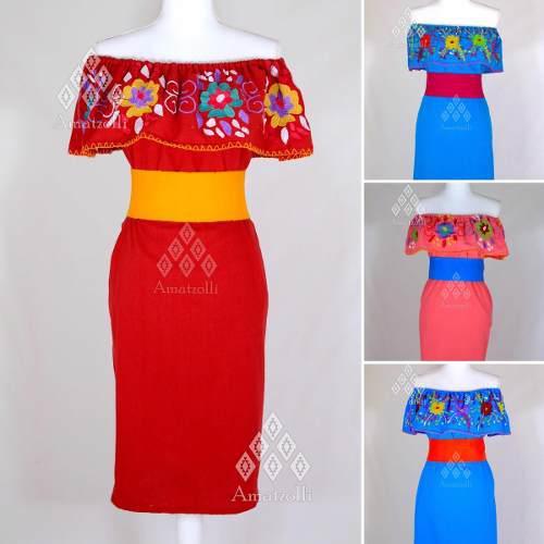 Lote De 6 Vestidos Campesina De Manta Con Bordados Mexicanos