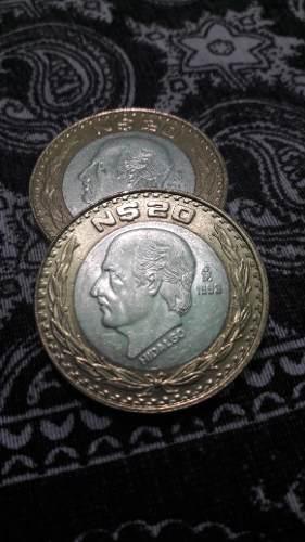 Moneda 20 nuevos pesos hidalgo 1993 poco circuladay brillosa