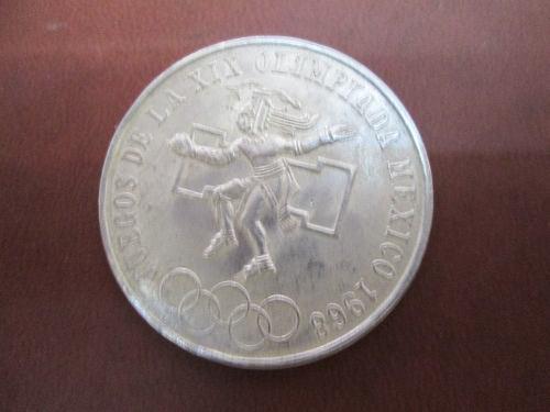 Moneda 25 pesos olimpica 1968 plata ley 720.