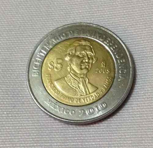Moneda 5 pesos fco. primo de verdad sin puntos