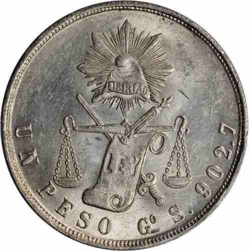 Moneda antigua libertad un peso 1872 de colección 38mm